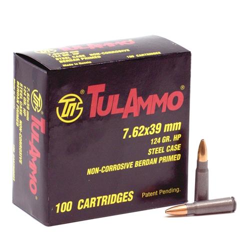 TulAmmo 7.62x39mm Ammo 124 Grain HP Steel Cased Berdan Primed