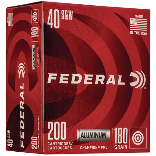 Federal Champion 40 S&W Ammo 180 Grain Aluminum Case Full Metal Jacket