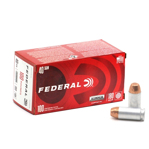 Federal Champion 40 S&W Ammo 180 Grain Aluminum Case FMJ 100 Rounds