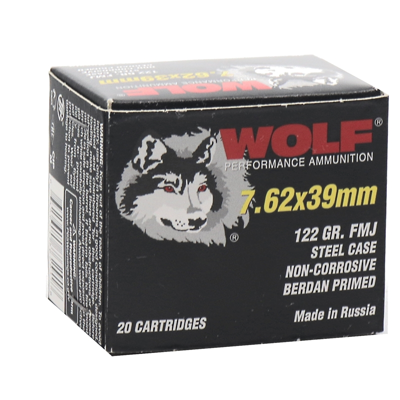 Wolf Performance 7.62x39mm Ammo  122 Grain Bi-Metal FMJ Steel Case