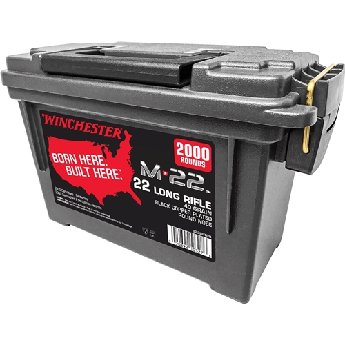 Winchester M-22 22 Long Rifle 40 Grain Black Plated Lead Round Nose Ammo Can of 2000