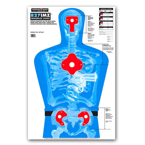 "Thompson Target B27-IMZ Life Size Silhouette Paper Shooting Targets - 25""x38"""