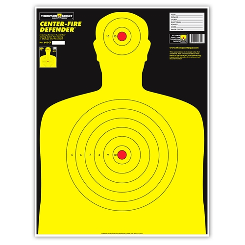 "Thompson Target Center-Fire Life Size Silhouette Paper Shooting Targets - 19""x25"""