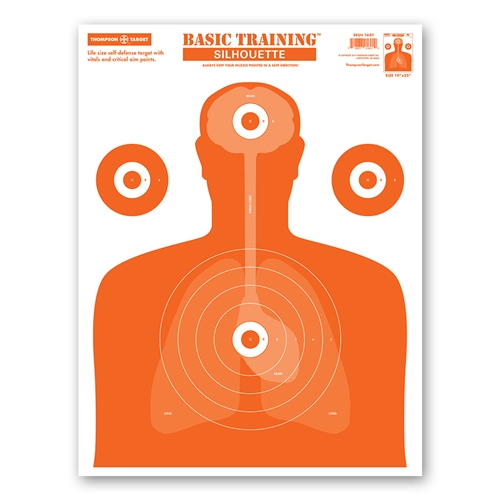 "Thompson Target Basic Training Silhouette Life Size Economy Paper Shooting Targets - 19""x25"""