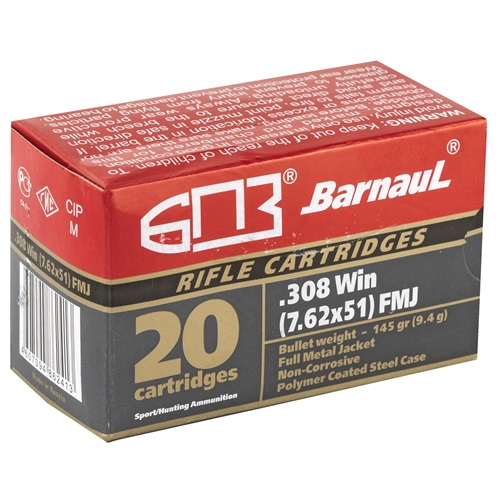 Barnaul 308 Winchester Ammo 145 Grain Full Metal Jacket Polycoated Steel Cased