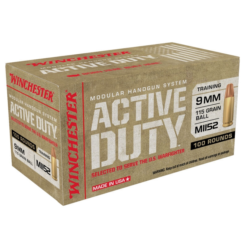 Winchester Active Duty 9mm Luger Ammo 115 Grain Full Metal Jacket