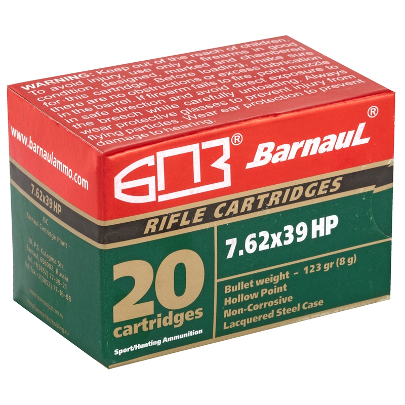 Barnaul 7.62x39mm Ammo 123 Grain Hollow Point Steel Lacquered Case