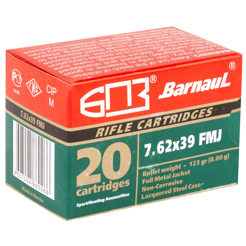 Barnaul 7.62x39mm Ammo 123 Grain FMJ Point Steel Case