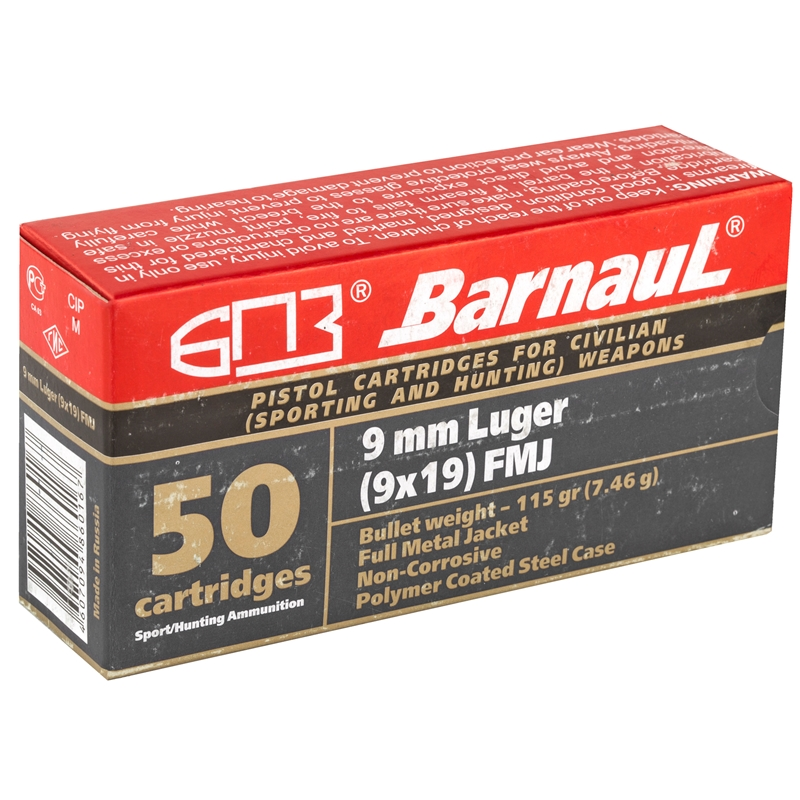 Barnaul 9mm Luger Ammo 115 Grain Full Metal Jacket