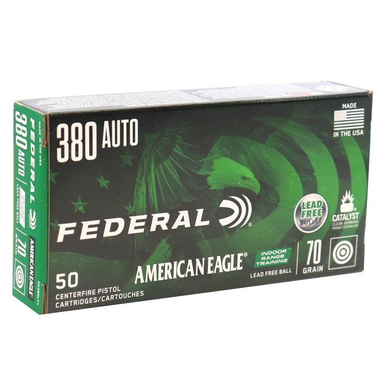 Federal American Eagle IRT 380 ACP Auto Ammo 70 Grain Lead Free Full Metal Jacket