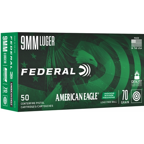 Federal American Eagle IRT 9mm Luger Ammo 70 Grain Lead Free FMJ