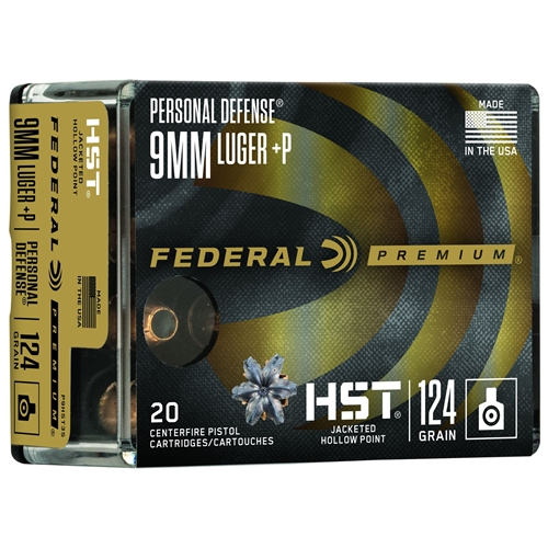 Federal Personal Defense 9mm Luger Ammo 124 Grain +P HST JHP