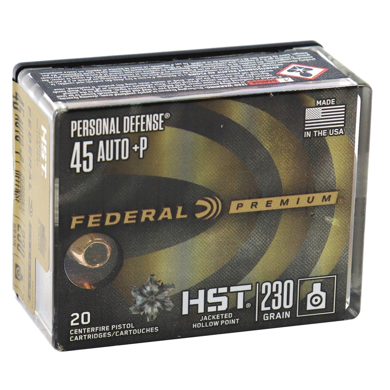 Federal Personal Defense 45 ACP AUTO Ammo 230 Grain +P HST JHP