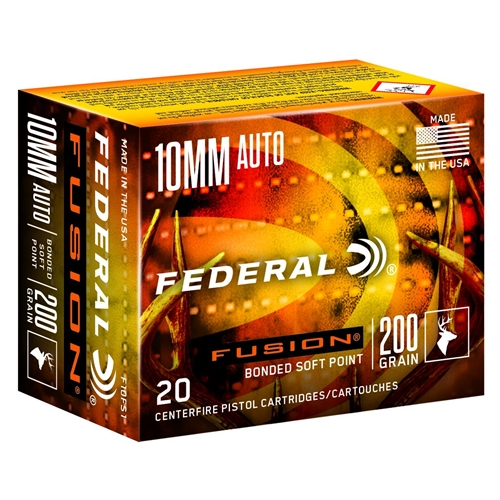 Federal Fusion 10mm AUTO Ammo 200 Grain Bonded Soft Point