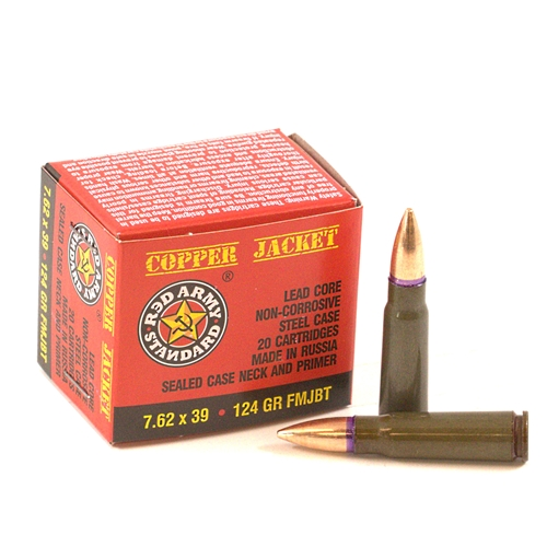 Red Army Standard 7.62x39mm Ammo 124 Grain FMJ BT Steel Case Copper Jacket