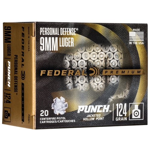 Federal Punch 9mm Luger Ammo 124 Grain Jacketed Hollow Point