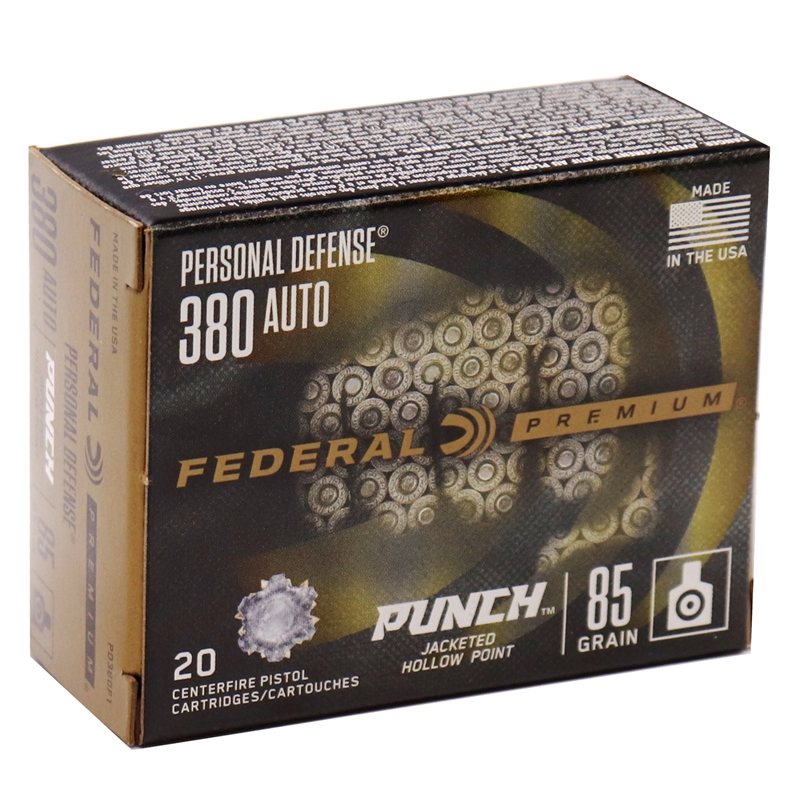 Federal Punch 380 ACP Auto Ammo 85 Grain Jacketed Hollow Point