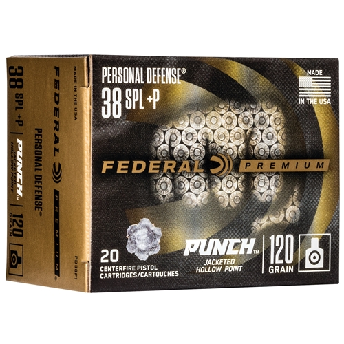 Federal Punch 38 Special Ammo 120 Grain +P Jacketed Hollow Point