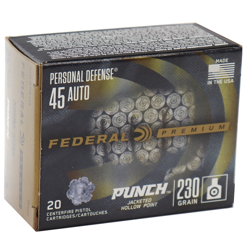 Federal Punch 45 ACP Auto Ammo 230 Grain Jacketed Hollow Point