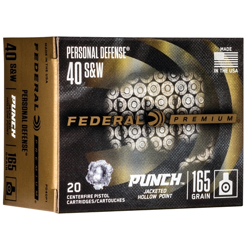 Federal Punch 40 S&W Ammo 165 Grain Jacketed Hollow Point