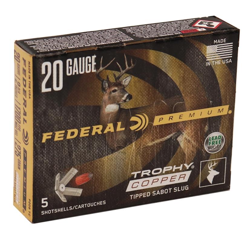 "Federal Premium Vital-Shok 20 Gauge Ammo 2-3/4"" 275 Grain Trophy Copper Tipped Sabot Slug Lead-Free"