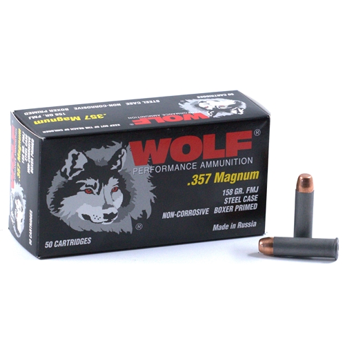 Wolf Performance 357 Magnum Ammo 158 Grain Full Metal Jacket Steel Case