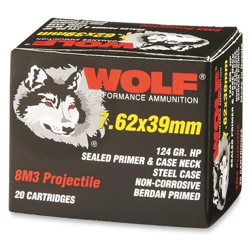 Wolf Performance 7.62x39mm Ammo 124 Grain 8M3 Hollow Point Steel Case