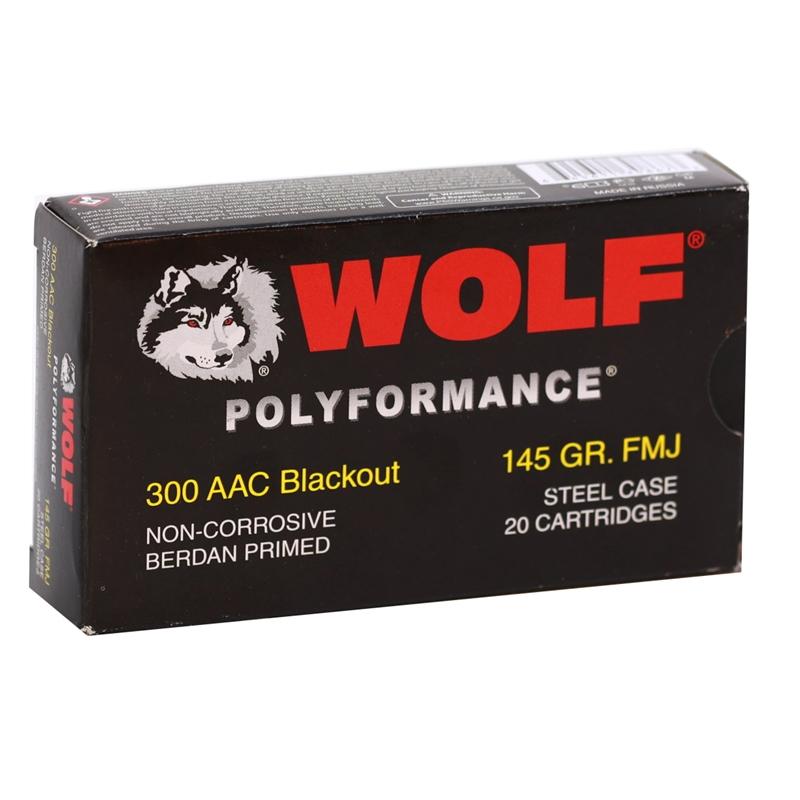 Wolf Polyformance 300 Blackout Ammo 145 Grain FMJ Steel Case
