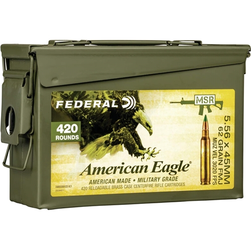 Federal American Eagle 5.56mm NATO Ammo 62 Grain FMJ in Ammo Can 420 Rounds