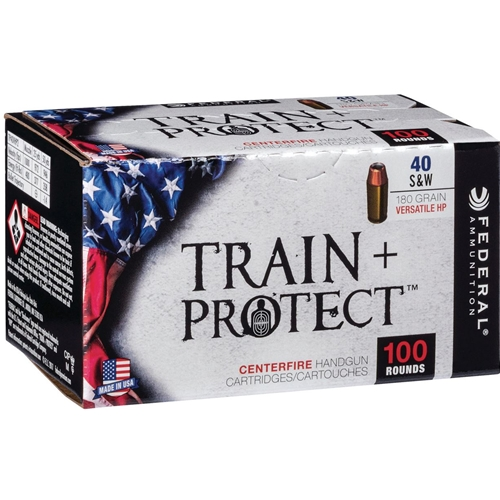 Federal Train + Protect 40 S&W Ammo 180 Grain Versatile Hollow Point