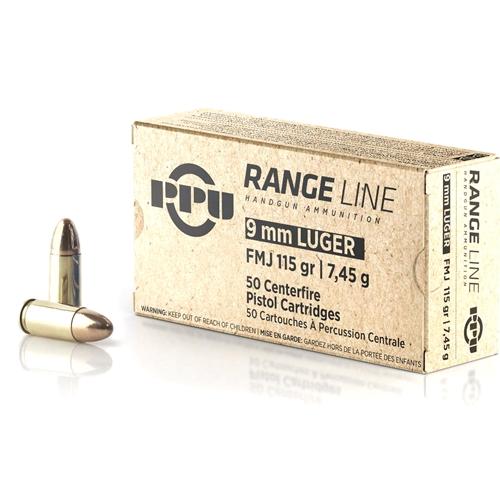 Prvi Partizan Range Line 9mm Luger Ammo 115 Grain Full Metal Jacket