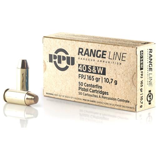 Prvi Partizan Range Line 40 S&W Ammo 165 Grain FPJ