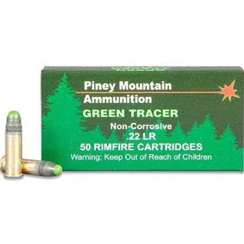 Piney Mountain 22 Long Rifle Ammo 40 Grain Lead Round Nose Green Tracer