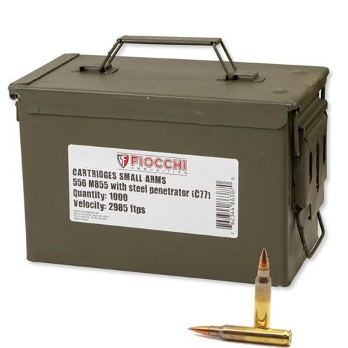 Fiocchi 5.56mm M855 Ammo 62 Grain Steel Penetrator FMJBT 1000 Ammo Can