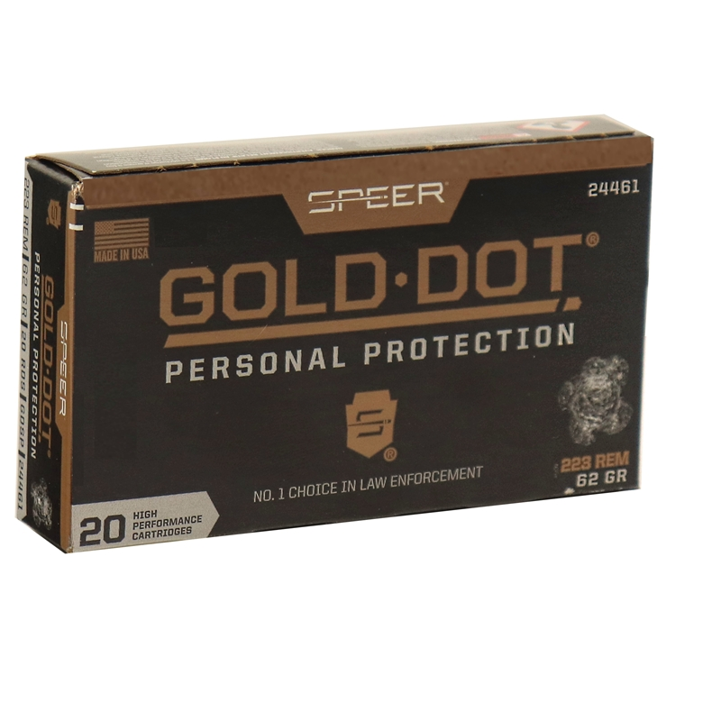 Speer Gold Dot Personal Protection 223 Remington Ammo 62 Grain Soft Point