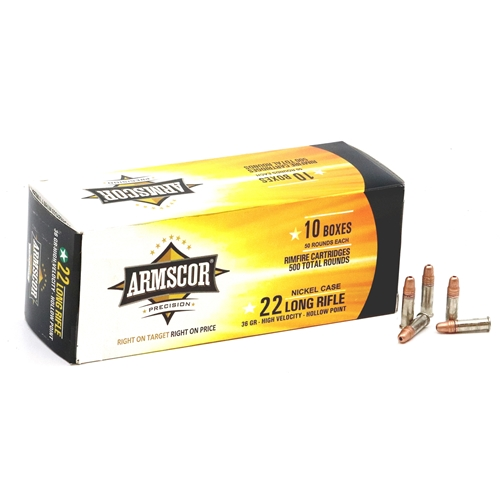 Armscor Precision 22 Long Rifle Ammo 36 Grain High Velocity Hollow Point Nickel Case