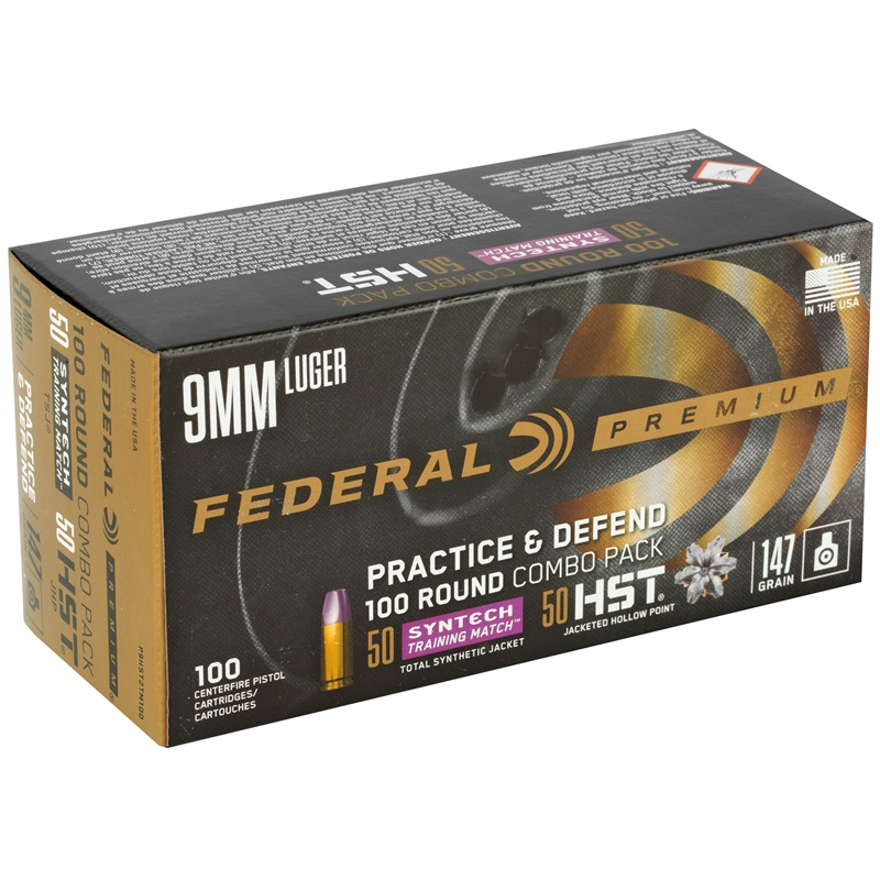Federal Practice & Defend 9mm Luger Ammo 147 Grain Syntech/HST 100 Rounds Combo Pack