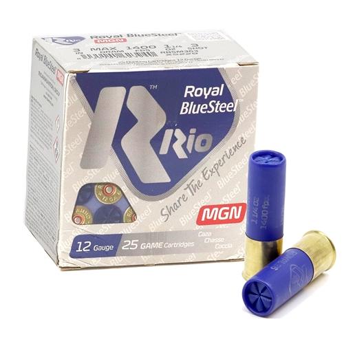 "RIO Royal BlueSteel Magnum 12 Gauge Ammo 3""  1-1/4oz oz #3 Steel Shot"
