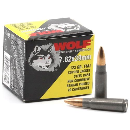 Wolf Performance 7.62x39mm Ammo 122 Grain Copper Jacket FMJ Steel Case