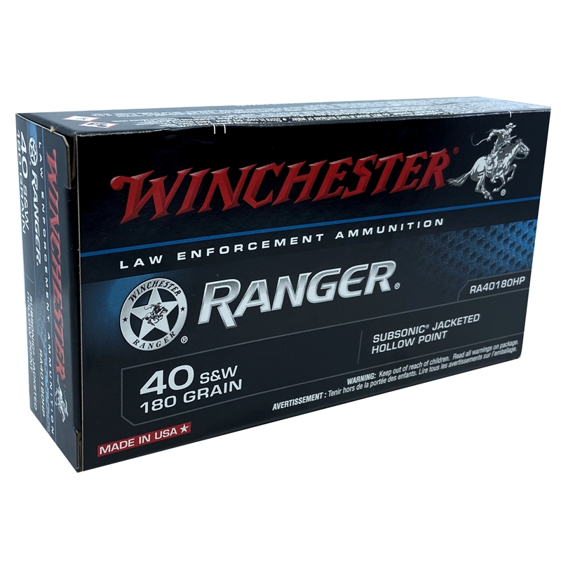 Winchester Ranger 40 S&W 180 Grain Subsonic Jacketed Hollow Point
