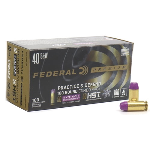 Federal Practice & Defend 40 S&W Ammo 180 Grain HST JHP Syntech Training Match