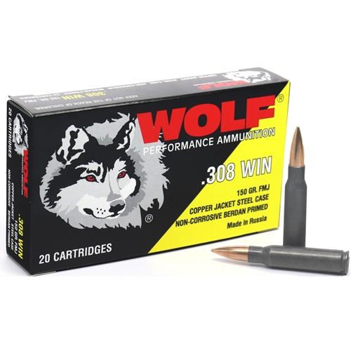 Wolf Performance 308 Winchester Ammo 150 Grain FMJ Copper Jacket Steel Case