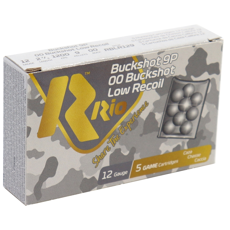"Rio 12 Gauge Royal Ammo 2 3/4"" 00 Buckshot 9 Pellets Low Recoil 250 Rounds"