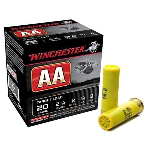 "Winchester AA Target Loads 20 Gauge Ammo 2 3/4"" 7/8oz. #8 Shot"