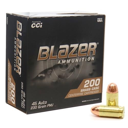 CCI Blazer Brass 45 ACP Auto Ammo 230 Grain FMJ 200 Rounds Value Pack
