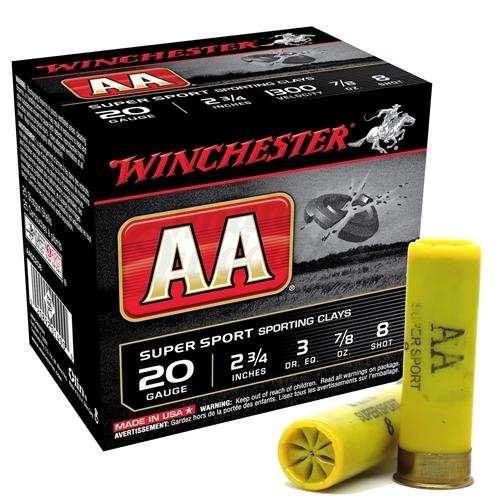 "Winchester AA Super Sport 20 Gauge Ammo 2 3/4"" 7/8oz. #8 Shot"