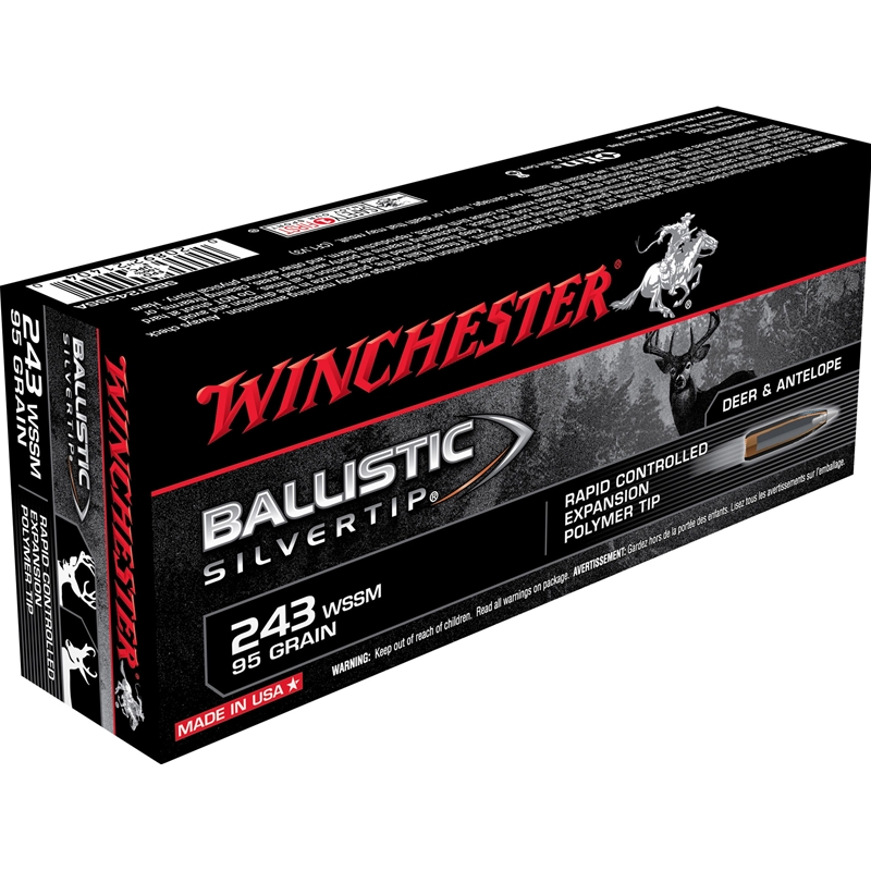 Winchester Ballistic Silvertip 243 WSSM Ammo 95 Grain Rapid Controlled Expansion Polymer Tip