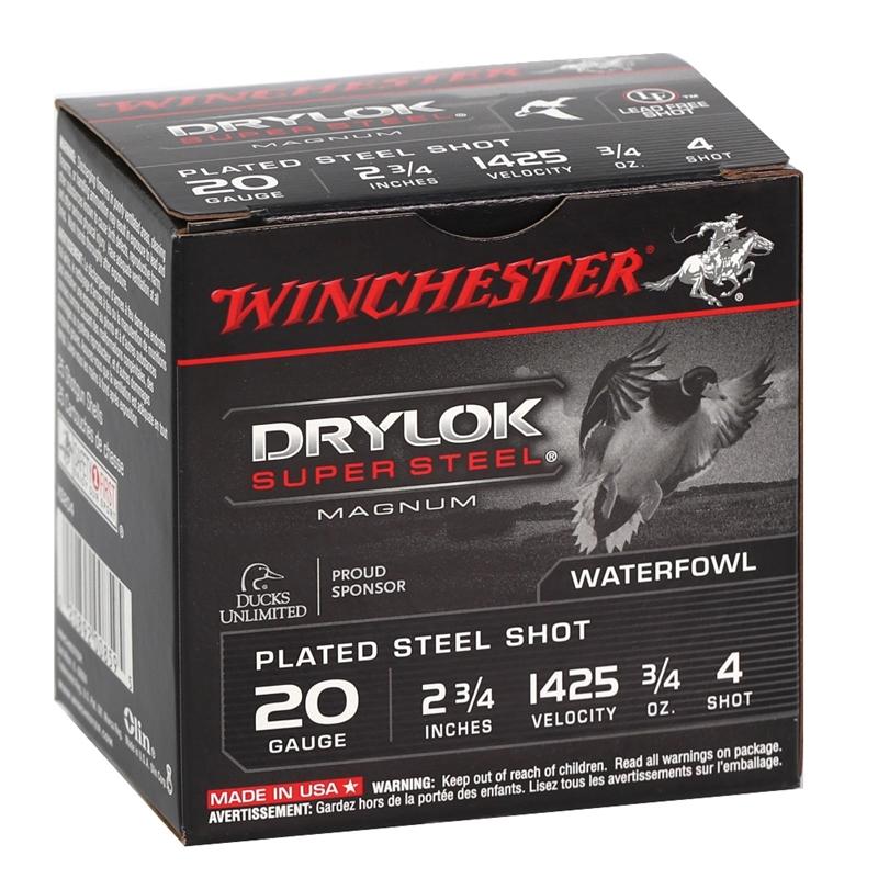 "Winchester Drylok Super Steel 20 Gauge Ammo 2-3/4"" 3/4 oz #4 Plated Steel Shot"