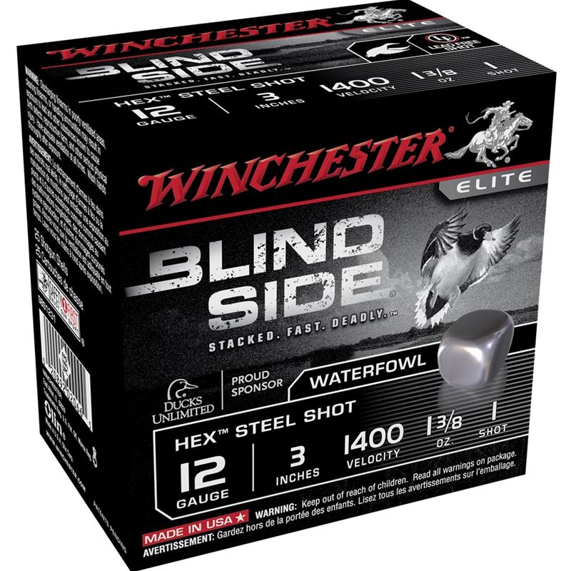 """Winchester Blind Side 12 Gauge 3"""" 1 3/8oz. #1 Shot Non-Toxic Steel Shot"""