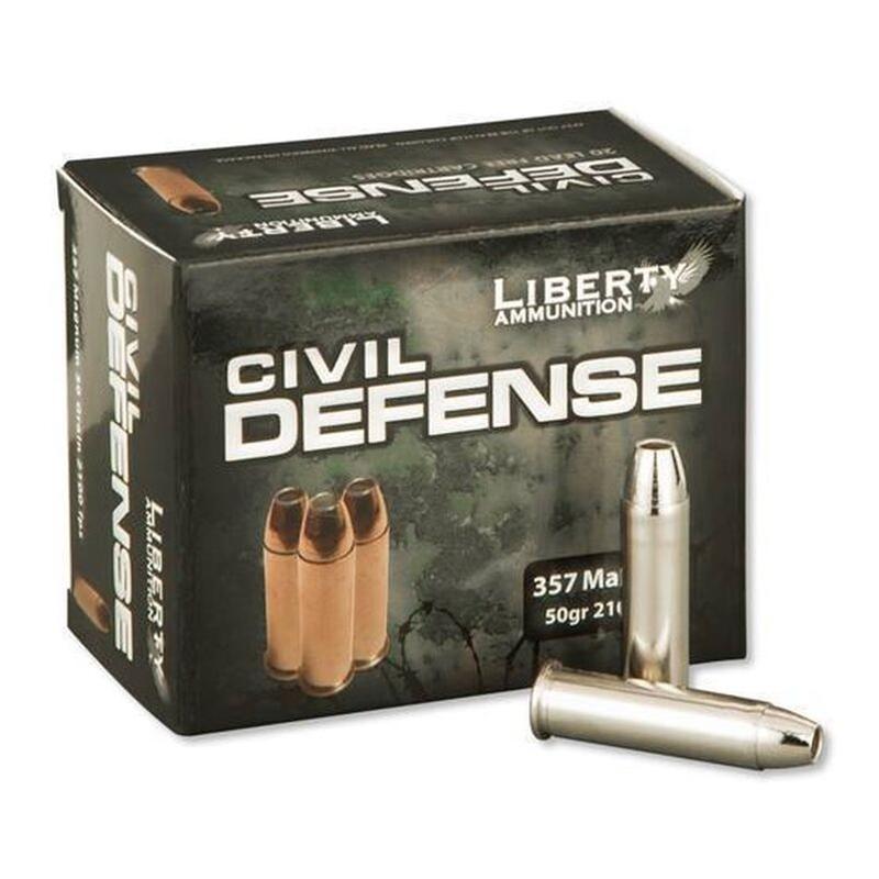 Liberty Civil Defense 357 Magnum Ammo 50 Grain Fragmenting Hollow Point Lead-Free